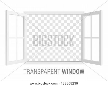 White vector window template, isolated on background. Two-sided opened window mockup.