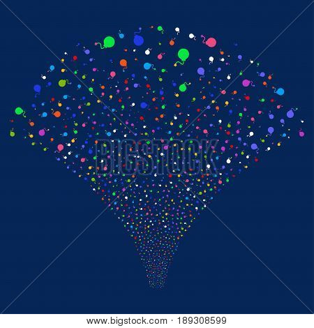 Bomb salute stream. Vector illustration style is flat bright multicolored iconic symbols on a blue background. Object fireworks fountain made from random pictographs.