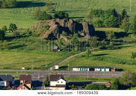 Rock formation Panska skala, or stone organ around the village of Kamenicky Senov in northern Bohemia.