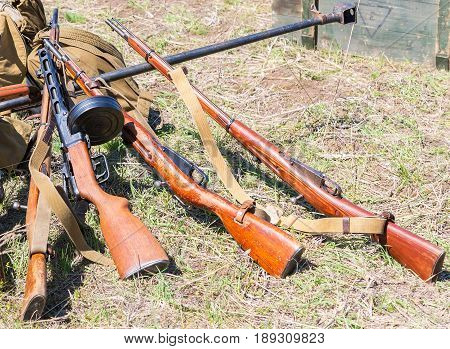 Russian retro weapons. Samples of Soviet vintage small arms