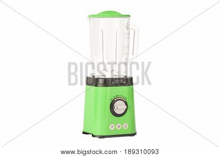 green electric blender 3D rendering isolated on white background