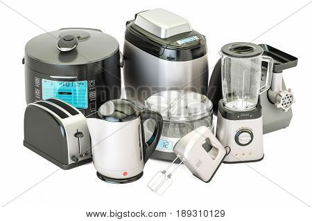 Set of kitchen home appliances. Toaster kettle mixer blender