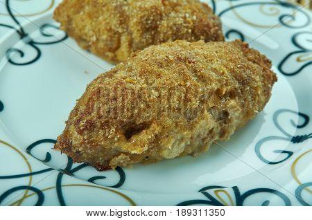 Macher Chop - Bengali festival snack. close up