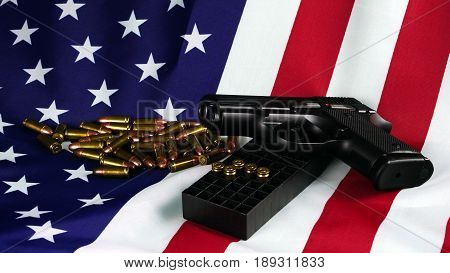 Bullets on the Flag of the United States. American shooting sport. Soldier and army weapons. Blue and red stripes with stars flag.