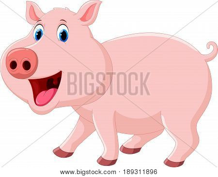 Vector illustration of cute pig cartoon  isolated on white background