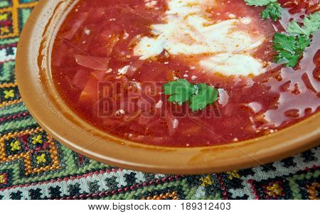 Ciorba de sfecla rosie - Romanian national dish beetroot soup