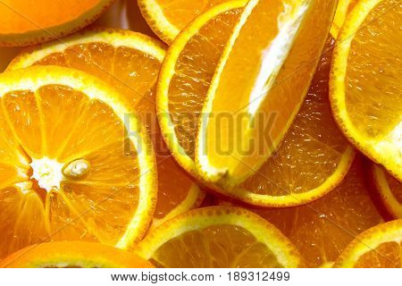 Orange fruit. Orange slices half orange whole orange orange background