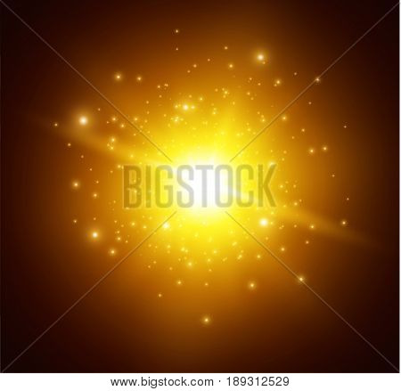 explosion of a star on a dark background , light effect, vector illustration. explosion with sparkles.Sun.Special effect isolated on a transparent background.The spark ignites.particles in motion.