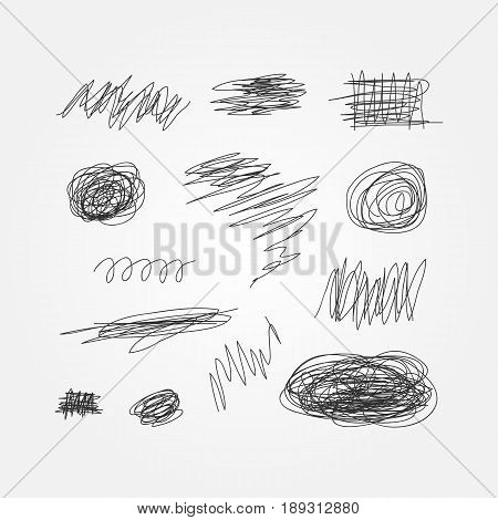 Set of black scribbles drawn by hand. Doodle sketch grunge. Thirteen abstract isolated elements. Vector illustration.