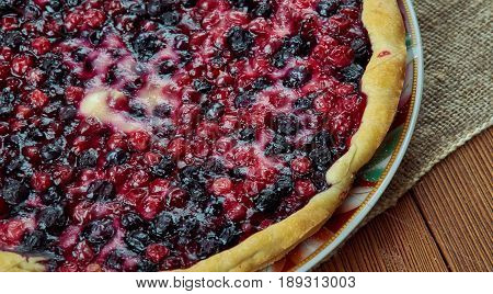 blueberries and cowberry tart. close up .