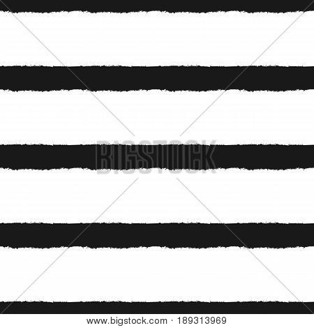 Horizontal lines drawn with a rough brush. Striped seamless pattern. Grunge. Vector illustration. Black white.