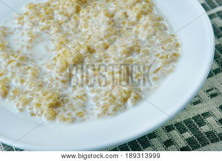 Helmipuuro - Finnish dairy semolina porridge. close up