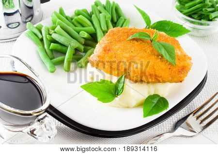 Nuggets Of Chicken, Mashed Potatoes And Herbs