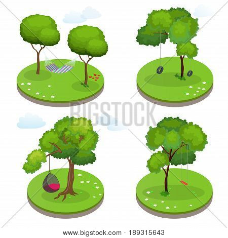 Isometric Rope Hammock between two trees, Hammock Chair, Swing and Swing tire. Flat vector illustration