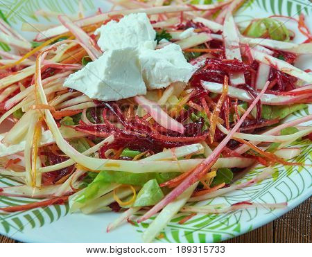 Coleslaw salad with beets. close up .