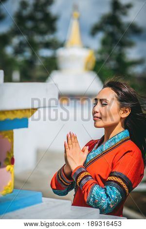 beautiful asian female at the buddist tample