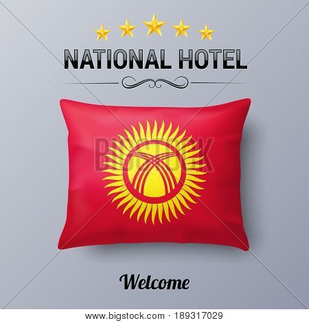 Realistic Pillow and Flag of Kyrgyzstan as Symbol National Hotel. Flag Pillow Cover with Kyrgyz flag