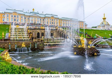 RUSSIA Peterhof - JULY 17 2013. The Grand Palace in Peterhof and the Samson Fountain