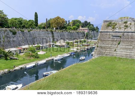 Canal in old Byzantine fortress in Kerkyra, Corfu island in Greece.