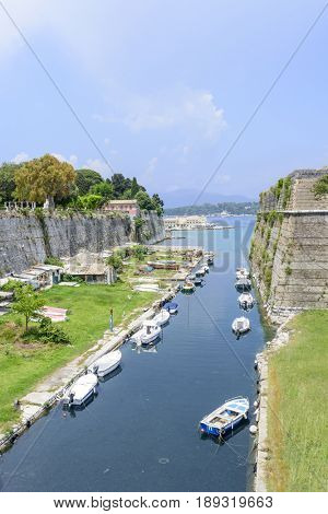 Canal in old Byzantine fortress in Kerkyra, Corfu island in Greece.