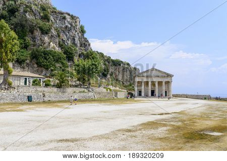 Saint George Church in old Byzantine fortress in Kerkyra, Corfu island in Greece.