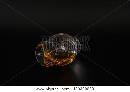 Single Malt Tasting Glass, Single Malt Whisky In A Glass, Black  Background