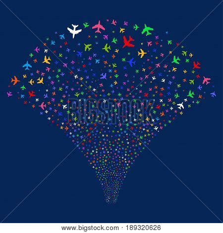 Jet Plane salute stream. Vector illustration style is flat bright multicolored iconic symbols on a blue background. Object fireworks fountain organized from random icons.