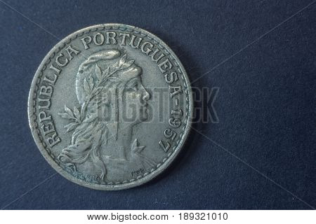 One Escudo Portugal 1957 Head Coin, Vintage Old, Difficult And Rare To Find.