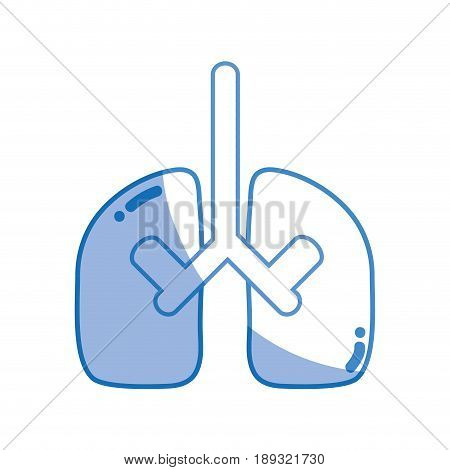 silhouette lungs organ to anatomy pulmonary care vector illustration