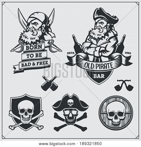 Set of pirate labels, emblems, badges and design elements.