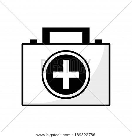 contour briefcase and first aid kit urgency, vector illustration