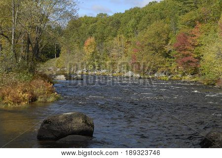 Whitewater in shallow section of Contoocook River