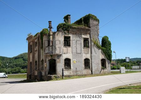 HRVATSKA KOSTAJNICA, CROATIA - JUNE 18: Destroyed building as war aftermath in Hrvatska Kostajnica, Croatia on June 18, 2016.