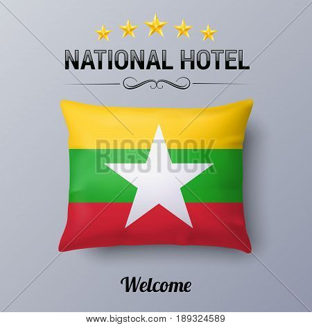 Realistic Pillow and Flag of Myanmar as Symbol National Hotel. Flag Pillow Cover with flag design