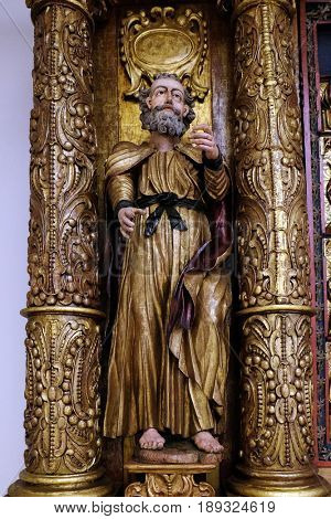 ZAGREB, CROATIA - JUNE 18: Saint Peter, 15th century, from the church of the Queen of the Holy Rosary in Remetinec, Zagreb, Croatia on June 18, 2015.