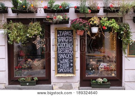 ZAGREB, CROATIA - DECEMBER 12: Window of coffee shop in Zagreb, Croatia on December 12, 2015.