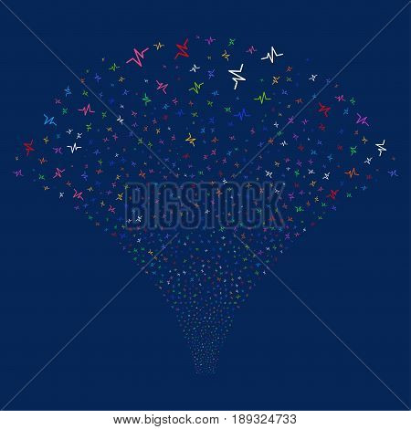 Pulse salute stream. Vector illustration style is flat bright multicolored iconic symbols on a blue background. Object fireworks fountain done from random pictograms.