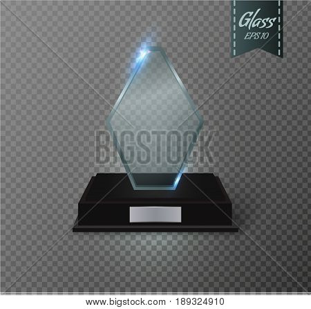 Blank glass trophy award on a transparent background. Glossy trophy for illustration award.realistic empty.black stand 3D .vector