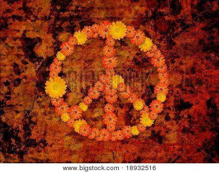 peace symbol, flowers on grunge background