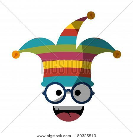 comic face with harlequin hat icon over white background. vector illustration