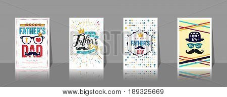 Set of Father's day BrochuresPoster or Banner in vintage style.Set of Happy Fathers day Greeting Card on shelf.Vector of Love Dad Concept.