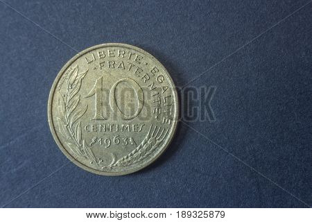 Ten Centimes Of Franc France 1963 Tail Coin, Vintage Old, Difficult And Rare To Find.
