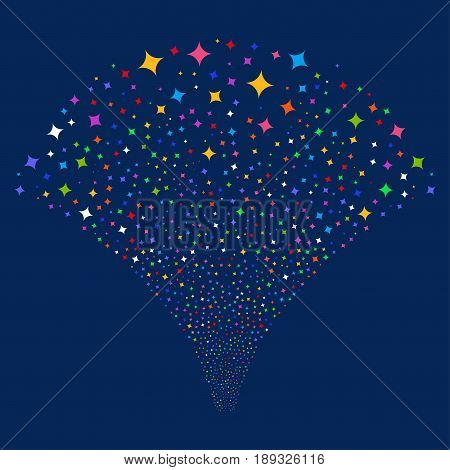 Sparcle Star salute stream. Vector illustration style is flat bright multicolored iconic symbols on a blue background. Object explosion fountain organized from random pictograms.