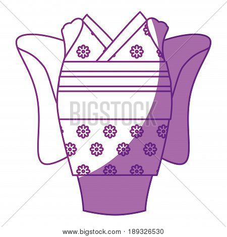 japanese kimono dress icon over white background vector illustration