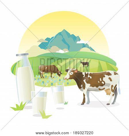 Milk lable illustration with cows graze on alpine meadows. Rural sunrise pasture landscape. Bottle of milk and glasses of milk.