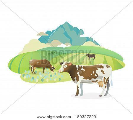 Vector sticker illustration. Rural pasture landscape with happy cows graze on alpine meadows, on mountain landscape
