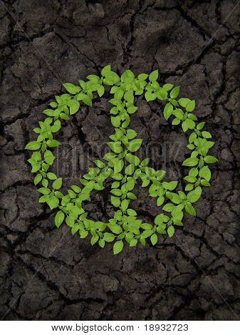 green plant peace symbol on cracky soil poster