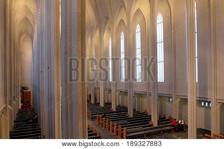 REYKJAVIK, ICELAND - DECEMBER 29, 2012: Interior of Hallgrimskirkja cathedral in Reykjavik, Iceland.