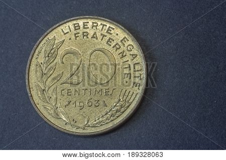 Twenty Centimes Of Franc France 1963 Tail Coin, Vintage Old, Difficult And Rare To Find.