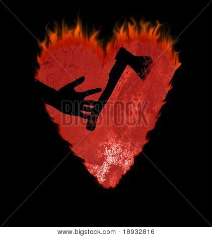 Red burning heart and axe